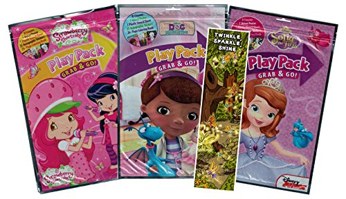 KaleidoQuest Bundle of 4 Girls Coloring and Activity Items - Doc McStuffins, Sofia The First, and Strawberry Shortcake Grab and Go Play Pack XLs, Twinkle, Sparkle, Shine Colorable Bookmark]()