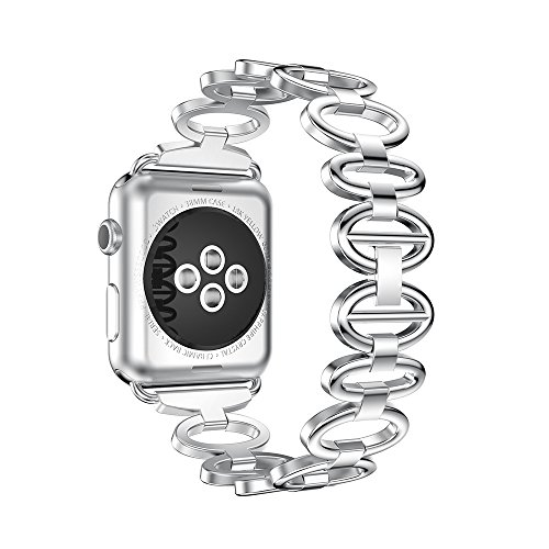ANCOOL Apple Watch Band Elliptical Style Stainless Steel Smart Watch Band for Apple Watch Series 3/Series 2/Series 1 - 42mm Silver