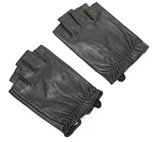 Leather Gloves Without Fingers - 9