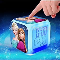 Frozen Princess Elsa Anna Olaf Alarm Clock with 7 Changing Colors Cute Cartoon LED Clock (Style 1)