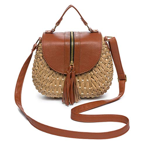 JOSEKO Women Straw Bag, Tassel Handmade Paper Woven Handbag Summer Beach Holiday Shoulder Bag for Travel Daily Shopping (18cm x 6.5cm x 13cm(LxWxH), Khaki #02)