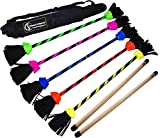 FLASH Pro Flower Stick Set (5 Colours) Silicone Coated Flowerstick & Handsticks! Suprime Quality, Fiberglass Shaft, Silicone Grip, Suede Tassels + Velcro Strap & Travel Bag! (UV Yellow)
