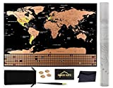 Nomad Maps Scratch Off World Map Poster- Detailed with U.S. States and Includes all Country Flags, comes with Scratch Off Accessories, Large Sized Poster, Travel Tracker