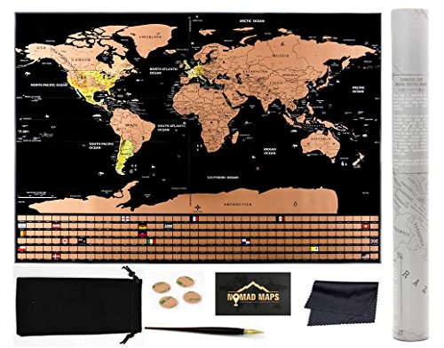 Nomad Maps Scratch Off World Map Poster- Detailed with U.S. States and Includes all Country Flags, comes with Scratch Off Accessories, Large Sized Poster, Travel Tracker Photo #5