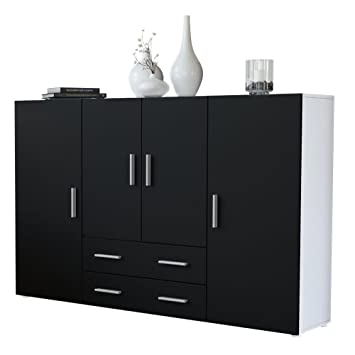 Sideboard schwarz matt  Highboard Sideboard Nora, Korpus in Weiß matt / Front in Schwarz ...