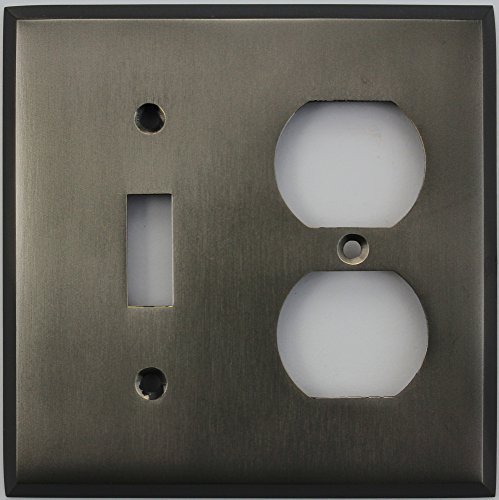 Antique Pewter Two Gang Wall Plate - One Toggle Light Switch Opening One Duplex Outlet (Antique Pewter 1 Light)