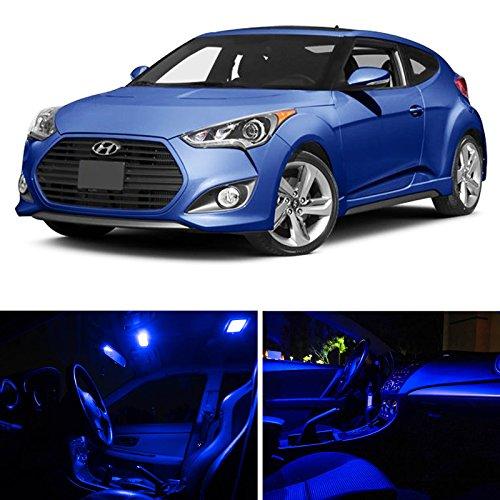LEDpartsNow Hyundai Veloster 2011 U0026 Up Blue Premium LED Interior Lights  Package Kit (5 Pieces)