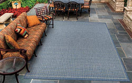 Couristan Recife Saddle Stitch Indoor/Outdoor Area Rug Champagne/Blue, 5'10