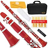 150-RD-L - RED/SILVER Keys Bb B flat Clarinet Lazarro+11 Reeds,Case,Care Kit~24 COLORS Available,CLICK on LISTING to SEE All Colors
