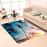 Nalahome Custom carpet m Tree Decor Sunset Trees in Hawaii Tropical Paradise with Bright Sky Dreamy Picture Blue Orange area rugs for Living Dining Room Bedroom Hallway Office Carpet (6' X 9')