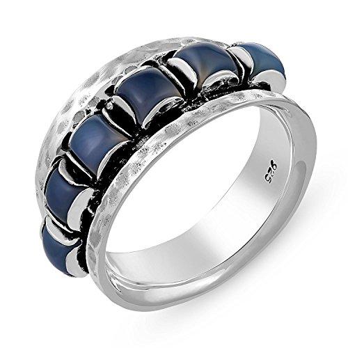 Genuine Gemstone Ring in .925 Sterling Silver-Blue Chalcedony (Blue Chalcedony Sterling Silver Ring)