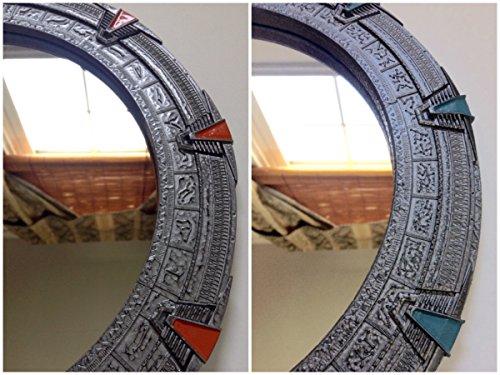 Stargate Mirror – Silver SG1 or Atlantis – Large 12 Diameter SG1 – Orange Chevrons