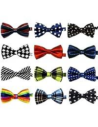 LilMents 12 Pack Boys Mixed Designs Adjustable Pre Tied Bow Necktie Tie Set (Set c)