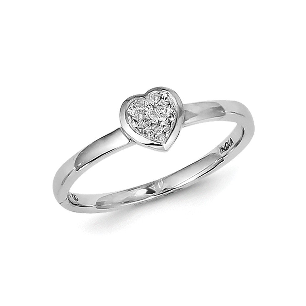 Sterling Silver Rhodium White Diamond Stackable Ring Size 8