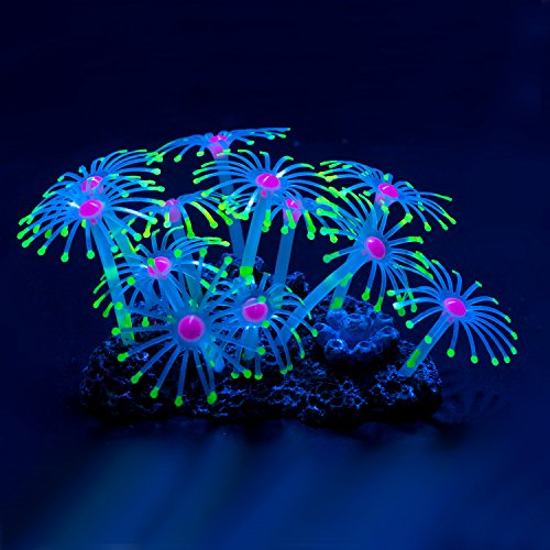 Uniclife Glowing Effect Artificial Coral Plant for Fish Tank, Decorative Aquarium Ornament (Yellow)