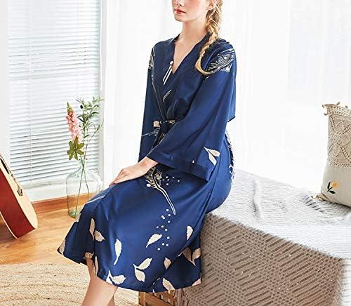 Abito da Notte con Ricamo in Filo 2-in-1 Asskyus Kimono Gown Satin da Donna