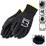 Better Grip Insulated Winter Double Lining Rubber Coated Safety Work Gloves   3 Pairs/Pack BGWANS (Large, Black)