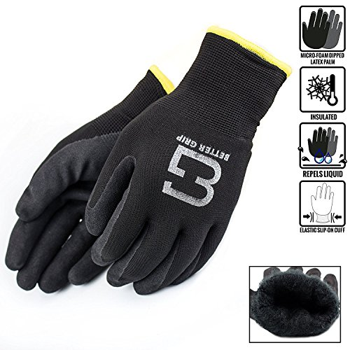 Better Grip Insulated Winter Double Lining Rubber Coated Safety Work Gloves | 3 Pairs/Pack BGWANS (Extra Large, Black)