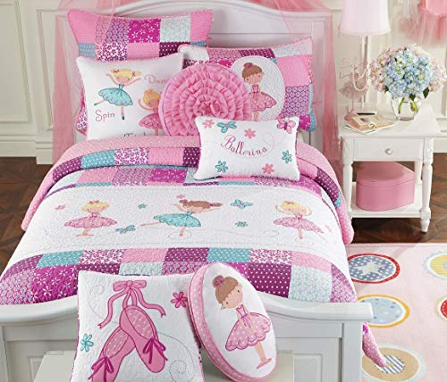 Cozy Line Home Fashions Ballerina Dance Princess Bedding Quilt Set, Pink Orchid Light Purple 100% Cotton Bedspread for Kids Girl (Pink Embroidered, Twin - 2 Piece)