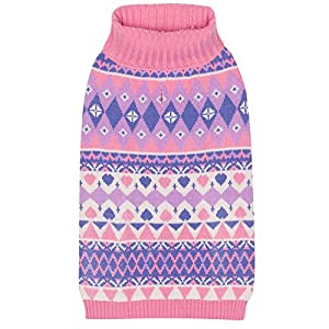 """Blueberry Pet 7 Patterns Vivid Tone Sweet Winter Bloom Designer Pullover Dog Sweater with Valentine Heart in Carnation Pink and Sheer Lilac, Back Length 12"""", Pack of 1 Clothes for Dogs"""