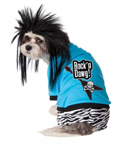 Rock Star Dog Costumes (Rubies Costume Company Rock Star Pet Costume and Wig, Medium)