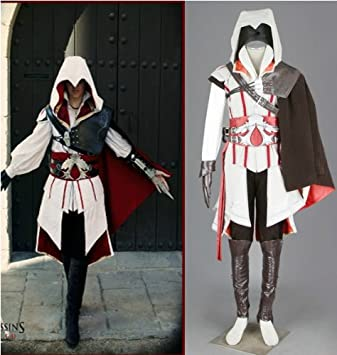 Assassins Creed 2 II Ezio Cosplay Costume Halloween,White Version ...