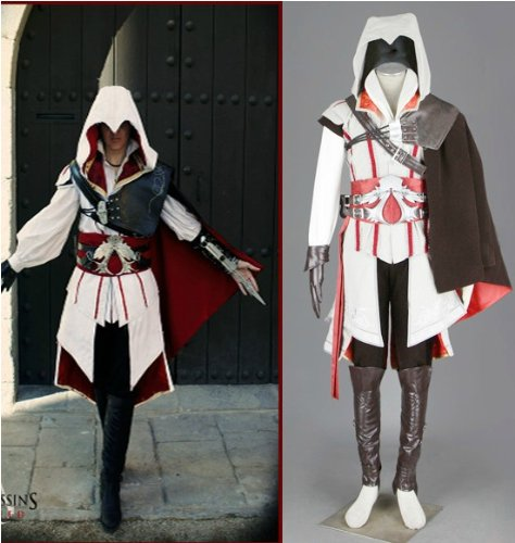 Assassin's Creed 2 II Ezio Cosplay Kostüm Halloween , Weiß Version,Größe XXL:(175-180cm,70-80 kg)