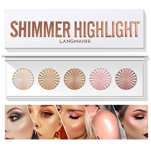 Highlighter Powder Palette, Makeup Palette Facial Bronzers Illuminator Palette Highlighter Baked Waterproof Long Lasting…