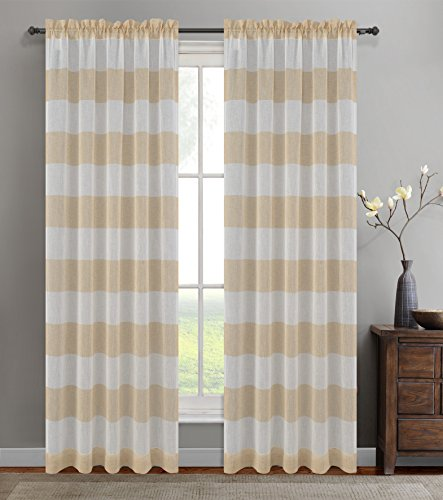 Urbanest 54-inch by 96-inch Set of 2 Nassau Faux Linen Sheer Striped Curtain Panels, - 96 Inch Sheer Stripe