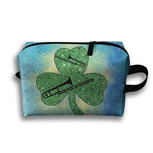 (Shamrock Trombone St Patrick's Day Oxford Travel Toiletries Bag Sturdy Organizer Cosmetic Handbag For Women Men Portable)