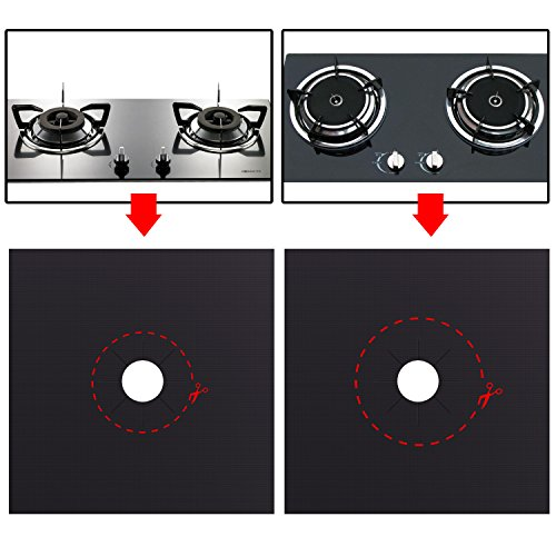 Bomach 6 Pack Gas Stove Range Burner Covers,Reusable Gas Stove Range Burner Protectors,Double Thickness,Non-Stick,Fast Clean Stovetop Burner Protector Liner Cover for Kitchen Cooktop Accessories