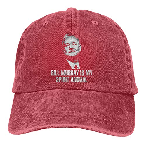 Bill Murray Spirit Animal Shirt Wes Anderson Tee Unisex Personality Hat Adjustable Baseball Hat Red ()