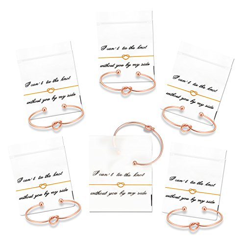 Nymph Code Bridesmaid Gifts Bachelorette Party Supplies - 6 Set Rose Gold Love Knot Bracelets with Bridesmaid Hair Ties,Perfect Bridal Shower Gifts for Bridesmaid by Nymph Code (Image #1)