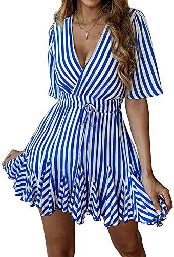 (Women's Sexy Deep V Neck Short Sleeve Striped Tunic Party Swing Short Mini Dresses Blue M)
