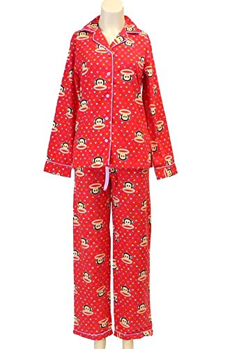 ScarvesMe Red Paul Frank Collared Buttondown Shirt Pajama Set Pink (Small)