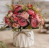 TopSZ Artificial Flowers in Ceramic Vase Sturdy Bottom - Arrangement Wedding Home Party Table Centerpieces Decoration (Silk Rose)