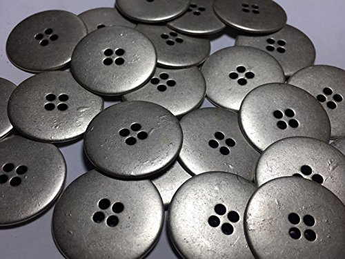 ShopForAllYou Buttons Craft Sewing 25 Large DISC Shape Metal Buttons Antique Silver Finish 1 1/4