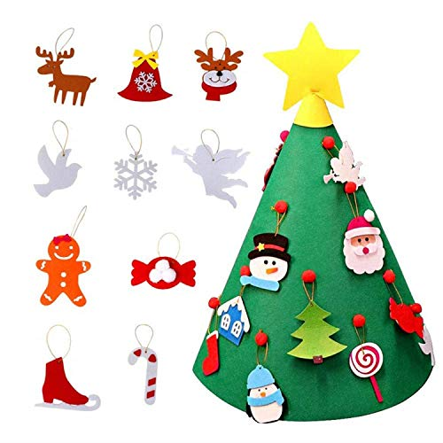 Sopear 3D DIY Felt Christmas Tree 18pcs,Toddler Friendly Christmas Tree Hanging Ornaments for Kids]()
