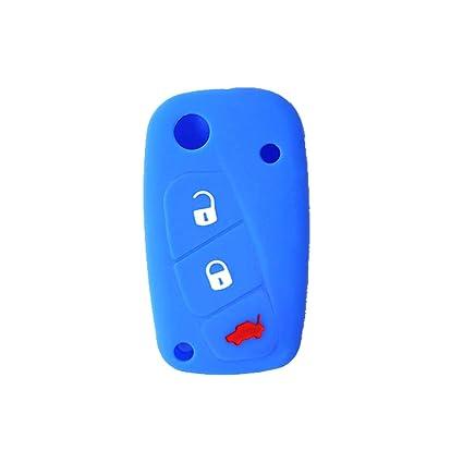 Cubierta de Silicona para Llave con Control Remoto Fiat Grande Punto Panda Bravo Stilo Ducato Ulysse DoblÃ, Idea para Regalo, Llavero (Azul)