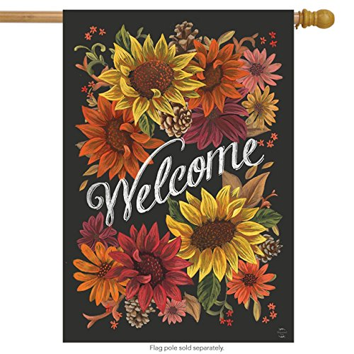 Briarwood Lane Fall Flowers Welcome Primitive House Flag Sunflowers Pinecones 28 x 40