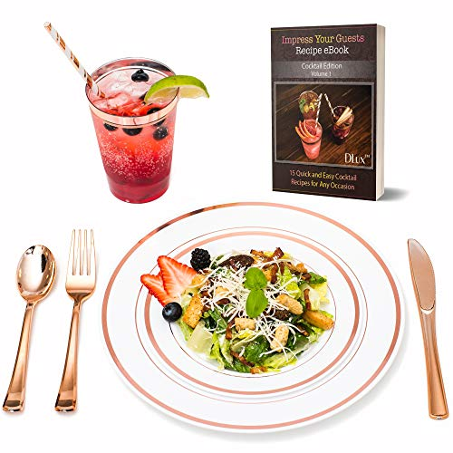 Rose Gold Plastic Dinner Plates Disposable Dinnerware Set with 12 oz Rimmed Cups & Eco-Friendly Paper Straws | 175 Pieces [25 Forks, Knives, Spoons, Cups, Straws, Salad & Dinner Plate] ()
