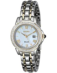 Seiko Womens SUT170 Diamond-Accented Two-Tone Stainless Steel Watch with Link Bracelet