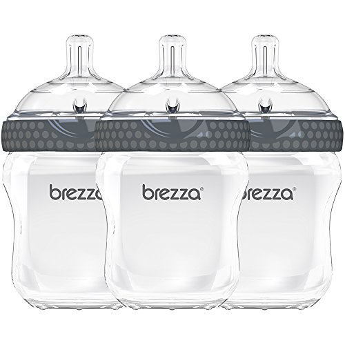 Baby Brezza Two Piece Natural Baby Bottle with Lid - Ergonomic, Wide Neck Design Makes it The Easiest to Clean - Modern Look - Anti-Colic - BPA Free Plastic - Grey - 9 Ounce - 3 Bottles