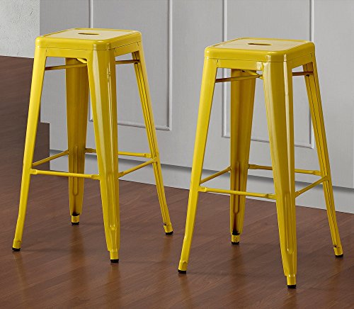 Set of 2 Yellow Tolix Style Metal Bar Stools in Glossy Po...