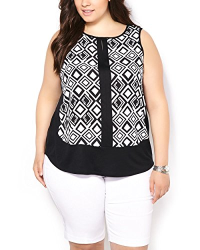 Penningtons Womens Plus Size Sleeveless Printed Front Top Black 2X