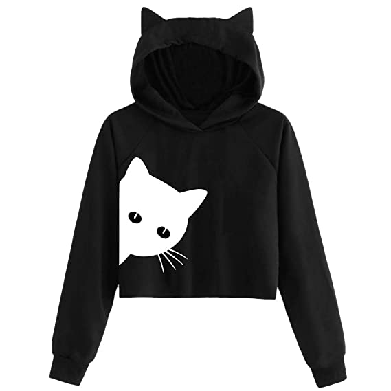 2018 New Fashion Women Hoodie Autumn And Winter Cat Weater Round Neck Long Sleeve Regular Blouse Plus Size Hoodie Women Xxl Traveling Women's Clothing
