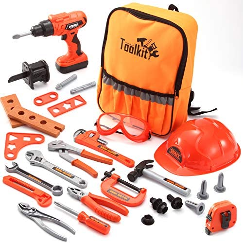JOYIN 32 PCS Kids Construction Tool Toy Set Backpack of Tool ToysElectric Power Drill Toy Construction Helmet Construction Tool Accessories for Cosntruction Pretend Play