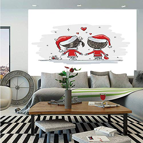 SoSung Christmas Decorations Removable Wall Mural,Soul Mates Love with Santa Costume Family Romance Winter Night Picture,Self-Adhesive Large Wallpaper for Home Decor 66x96 inches,Red White -