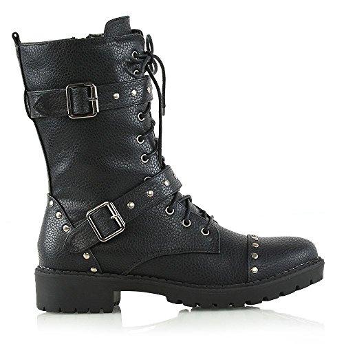 ESSEX GLAM Mujer Mitad De La Pantorrilla Botas De Motorista Con Cordones Señoras Tachonado Botas Militares Negro Cuero Sintético