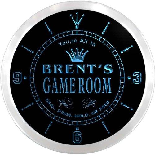 (ncx0195-tm Brent's Poker Game Room Custom Name Neon Sign Clock)